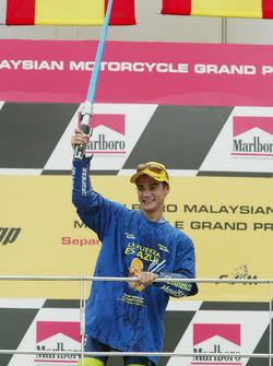Dani Pedrosa celebrates winning the World Championship