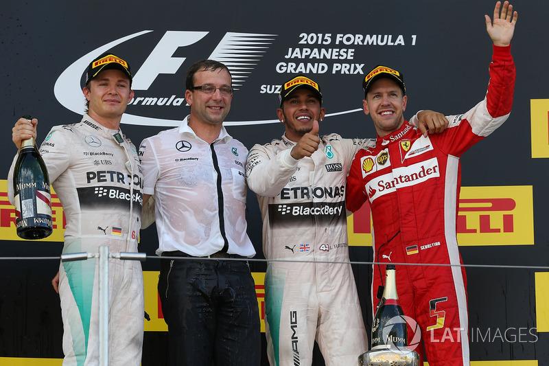 Nico Rosberg, Mercedes AMG F1, race winner Lewis Hamilton, Mercedes AMG F1 and Sebastian Vettel, Ferrari celebrate on the podium