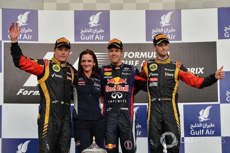 2013: 1. Sebastian Vettel, 2. Kimi Räikkönen, 3. Romain Grosjean