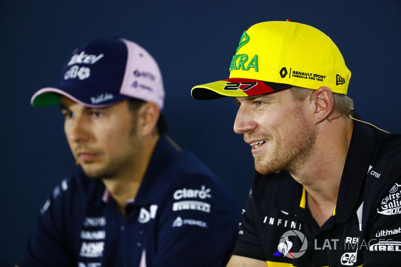 Sergio Perez, Force India, and Nico Hulkenberg, Renault Sport F1 Team, in the Press conference