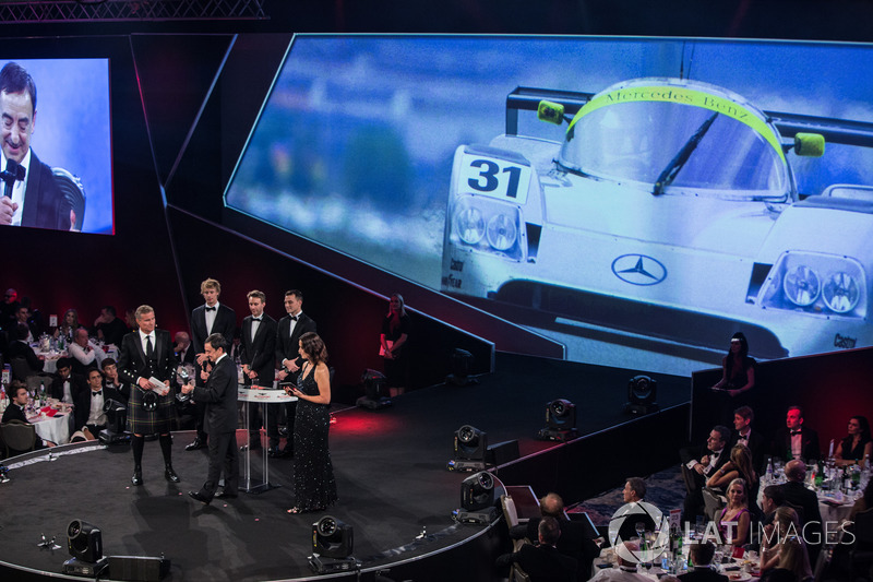 WEC Champions Brendon Hartley, Timo Bernhard and Earl Bamber present the John Bolster award to Pierre Fillon on behalf of the Automobile Club de l'Ouest