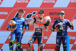 Podium: second place Alex Rins, Team Suzuki MotoGP, Race winner Marc Marquez, Repsol Honda Team, third place Maverick Viñales, Yamaha Factory Racing