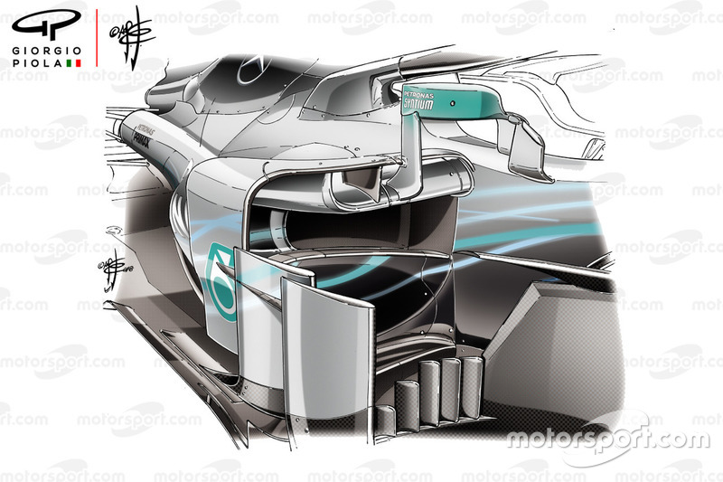 Mercedes F1 AMG W09 sidepods in Oostenrijk