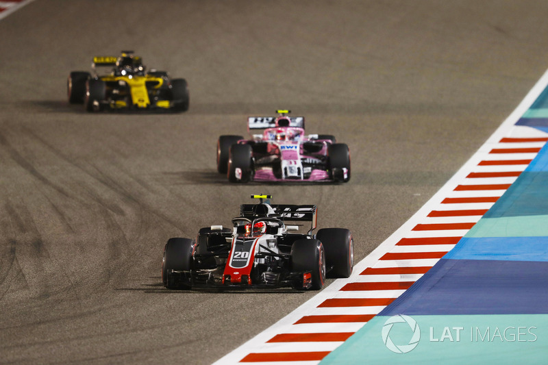 Kevin Magnussen, Haas F1 Team VF-18 Ferrari, Esteban Ocon, Force India VJM11 Mercedes, Nico Hulkenberg, Renault Sport F1 Team R.S. 18