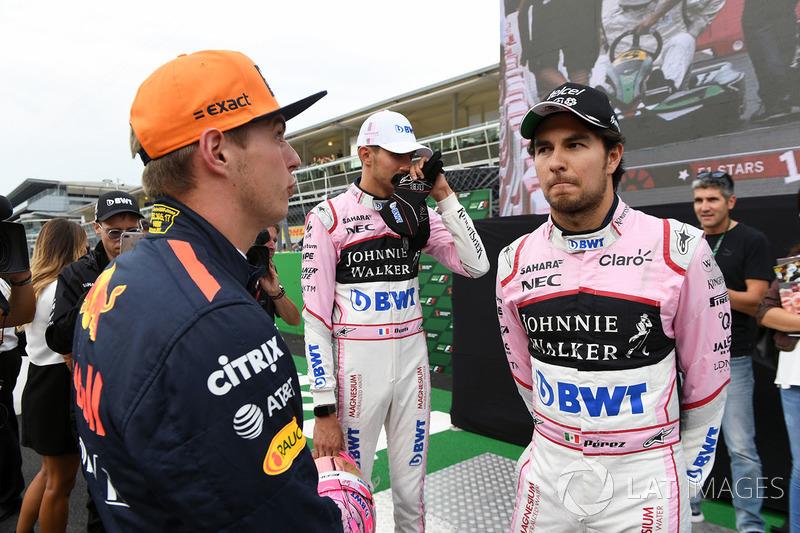 Max Verstappen, Red Bull Racing, Esteban Ocon, Sahara Force India F1 and Sergio Perez, Sahara Force India