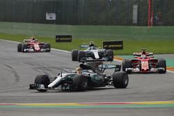Lewis Hamilton, Mercedes AMG F1 W08, Sebastian Vettel, Ferrari SF70H, Valtteri Bottas, Mercedes AMG F1 W08 and Kimi Raikkonen, Ferrari SF70H