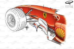 Ferrari F2004 pre bargboard (arrow shows how airflow is pushed out and around)