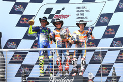 Podium: race winner Marc Marquez, Repsol Honda Team, second place Valentino Rossi, Yamaha Factory Racing, third place Dani Pedrosa, Repsol Honda Team