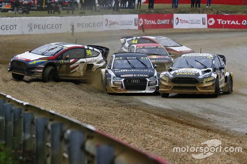 Кевин Эрикссон, MJP Racing Team Austria, Ford Fiesta ST, Рейнис Нитишс, EKS, Audi S1 EKS RX Quattro, и Тимур Тимерзянов, STARD, Ford Fiesta ST