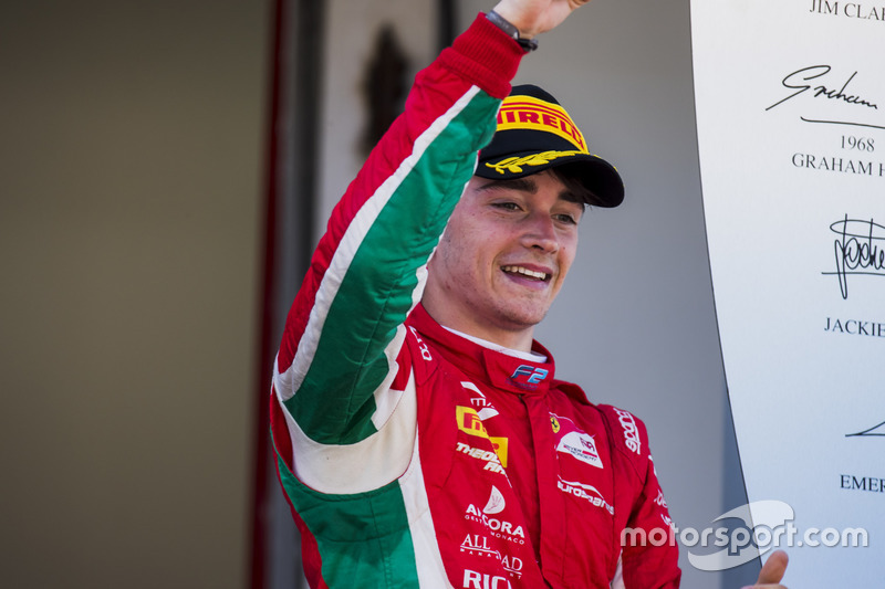Podium: race winner Charles Leclerc, PREMA Powerteam