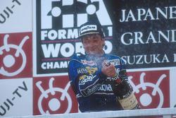 Podium : le vainqueur Riccardo Patrese, Williams