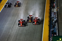 Kimi Raikkonen, Ferrari SF70H collides, Max Verstappen, Red Bull Racing RB13 and into Sebastian Vettel, Ferrari SF70H