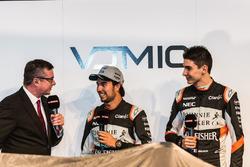 (L to R): David Croft, Sky Sports Commentator with Sergio Perez, Sahara Force India F1 and Esteban Ocon, Sahara Force India F1 Team