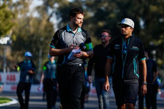 Nelson Piquet Jr., Panasonic Jaguar Racing, Jaguar I-Type 3, on the track walk with the team