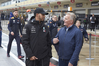 Lewis Hamilton, Mercedes AMG F1, and former diver Johnny Herbert.