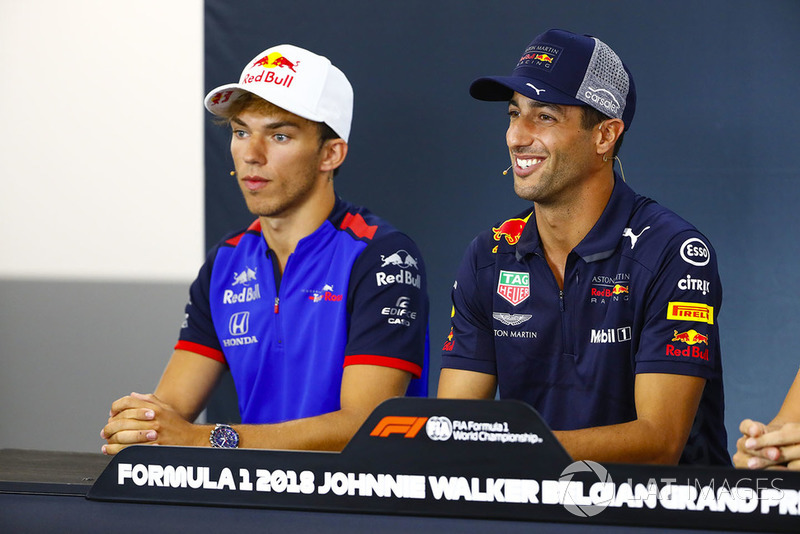 Pierre Gasly, Toro Rosso, and Daniel Ricciardo, Red Bull Racing, in the Thursday press conference