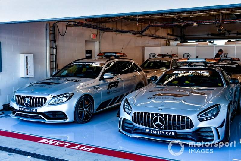 Mercedes Medical and Safety car in the FIA garage