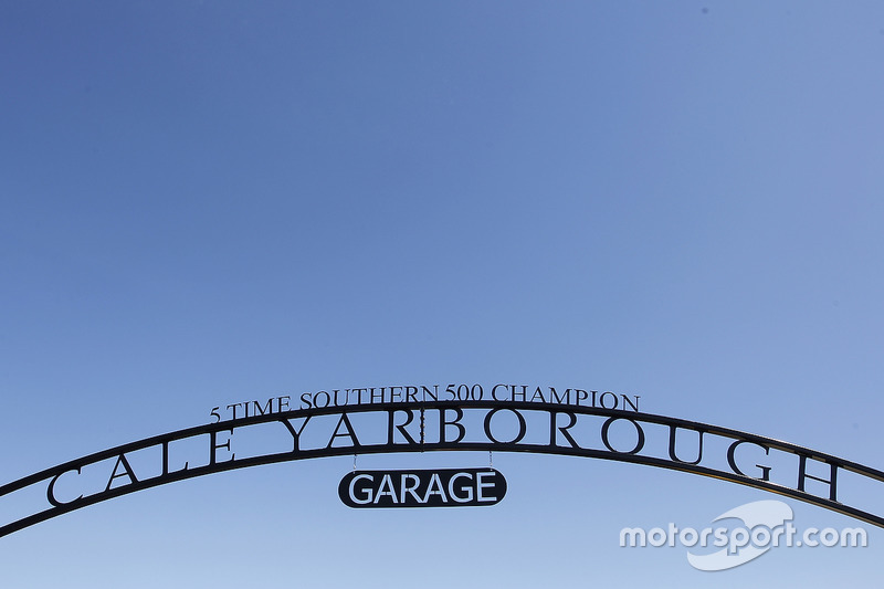 A detail view of the newly opened Cale Yarborough Garage gate
