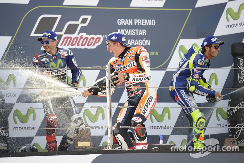 Podium: Sieger Marc Marquez, Repsol Honda Team; 2.  Jorge Lorenzo, Yamaha Factory Racing; 3. Valentino Rossi, Yamaha Factory Racing