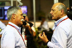 (L to R): Chase Carey, Formula One Group Chairman with Ron Dennis, McLaren Executive Chairman