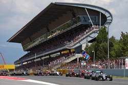 Lewis Hamilton, Mercedes AMG F1 W07 Hybrid leads team mate Nico Rosberg, Mercedes AMG F1 W07 Hybrid at the start of the race
