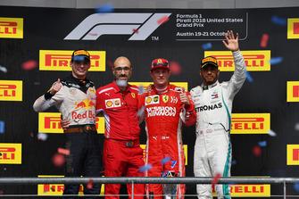 (L to R): Max Verstappen, Red Bull Racing, Carlo Santi, Ferrari Race Engineer, Race Winner Kimi Raikkonen, Ferrari and Lewis Hamilton, Mercedes AMG F1 celebrate on the podium