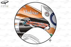 Force India VJM05 pre-Silverstone exhaust solution