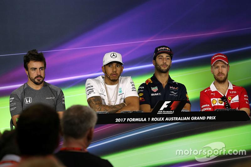 Lewis Hamilton, Mercedes AMG F1; Daniel Ricciardo, Red Bull Racing; Sebastian Vettel, Ferrari; Fernando Alonso, McLaren