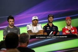 Льюіс Хемілтон, Mercedes AMG F1, Даніель Ріккардо, Red Bull Racing, Себастьян Феттель, Ferrari; Фернандо Алонсо, McLaren