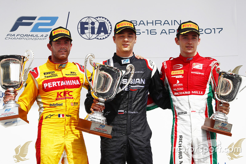 Podium: race winner Artem Markelov, RUSSIAN TIME, second place Norman Nato, Pertamina Arden, third place Charles Leclerc, PREMA Racing