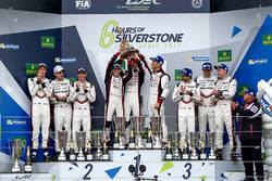 Podium: Race winners #8 Toyota Gazoo Racing Toyota TS050 Hybrid: Anthony Davidson, Sébastien Buemi, Kazuki Nakajima, second place #2 Porsche Team Porsche 919 Hybrid: Timo Bernhard, Earl Bamber, Brendon Hartley, third place #1 Porsche Team Porsche 919 Hybrid: Neel Jani, Andre Lotterer, Nick Tandy