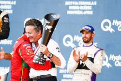 Lucas di Grassi, ABT Schaeffler Audi Sport, celebrates on the podium with Alejandro Agag, Formula E CEO