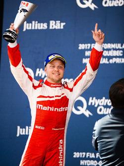Felix Rosenqvist, Mahindra Racing, celebrates on the podium