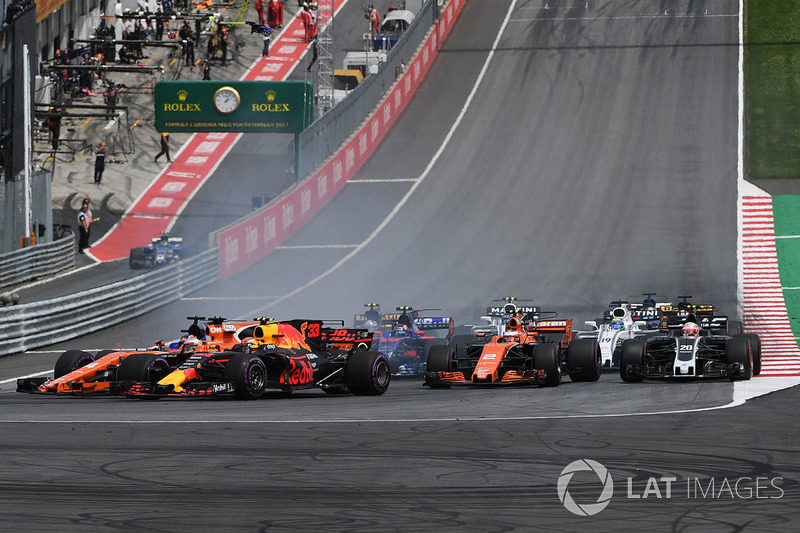 Макс Ферстаппен, Red Bull Racing RB13, Фернандо Алонсо, McLaren MCL32, Данііл Квят, Scuderia Toro Ro