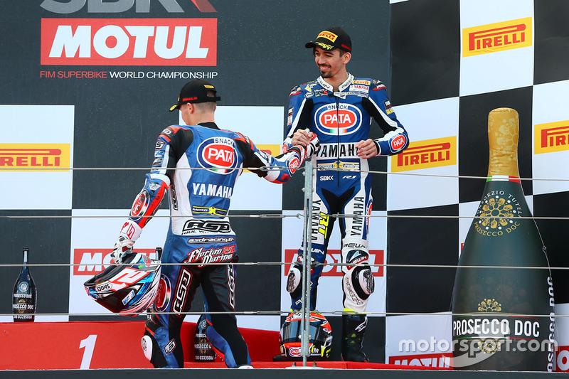 Podium: second place Florian Marino, Pata Yamaha Official STK 1000 Team, third place Roberto Tamburi