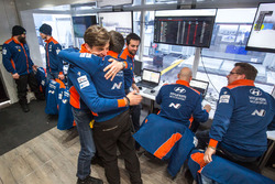 Hyundai Motorsport team members celebrate the win