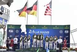 LMGTE Pro podium: winners Michael Christensen, Kevin Estre, Laurens Vanthoor, Porsche GT Team, second place Richard Lietz, Gianmaria Bruni, Frederic Makowiecki, Porsche GT Team, third place Joey Hand, Dirk Müller, Sébastien Bourdais, Ford Chip Ganassi Raci