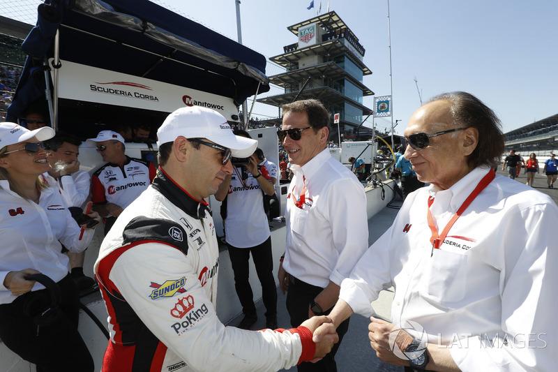Oriol Servia, Scuderia Corsa with RLL Honda,con el dueño del equipo Giacomo Mattioli y Art Zafiropoulo