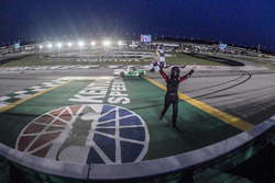 Ben Rhodes, ThorSport Racing, Ford F-150 Alpha Energy Solutions, winner, burnout, checkered flag