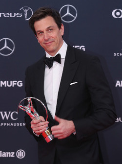 Toto Wolff, Executive Director Mercedes AMG F1 holds the award for Laureus Team of the Year