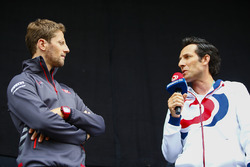 Romain Grosjean, Haas F1 Team, is presented on stage during a fan event