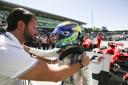 Felipe Massa, Williams, celebrates a points finish in his final home Grand Prix, in Parc Ferme