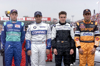 F1 Rookies, Kimi Raikkonen, Sauber C20, Juan Pablo Montoya, Williams, Fernando Alonso, Minardi and Enrique Bernoldi, Arrows