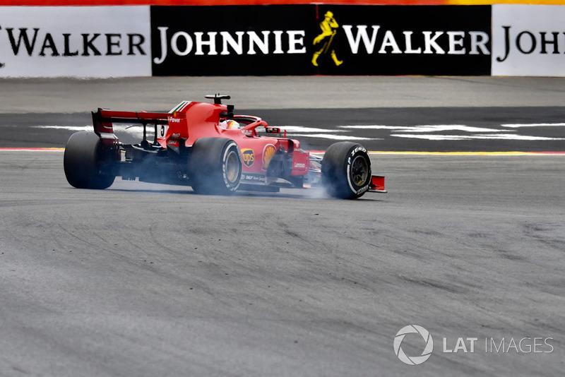 Sebastian Vettel, Ferrari SF71H, bloquea