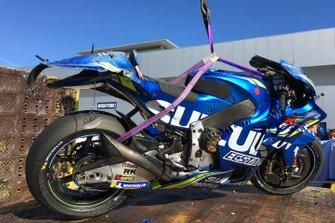 La moto di Joan Mir, Team Suzuki MotoGP, dopo la caduta
