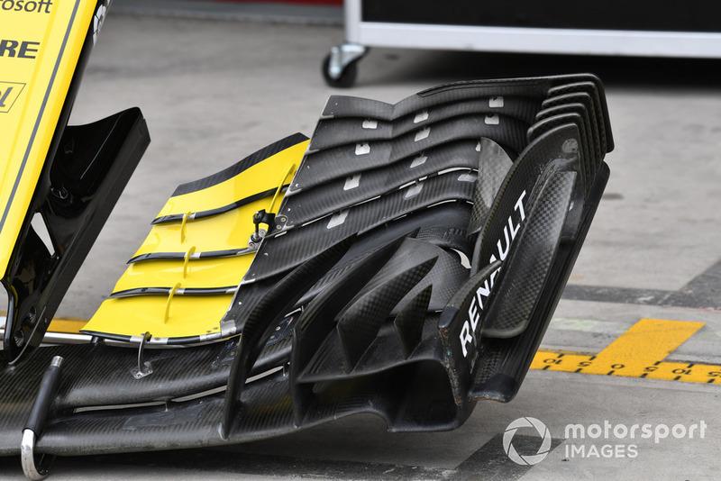 Vue détaillée de l'aileron avant d'une Renault Sport F1 Team R.S. 18