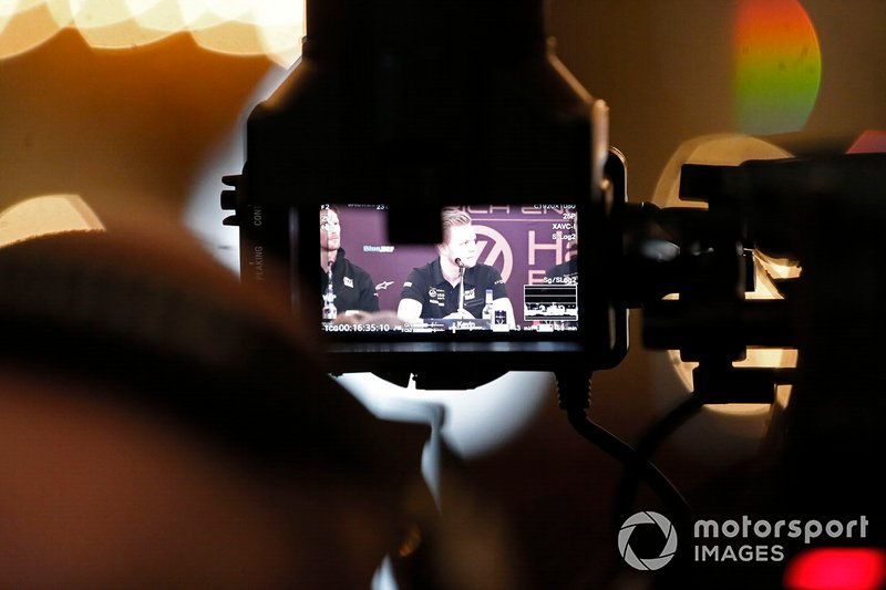 Kevin Magnussen, Haas F1 Team in the Press Conference through a camera