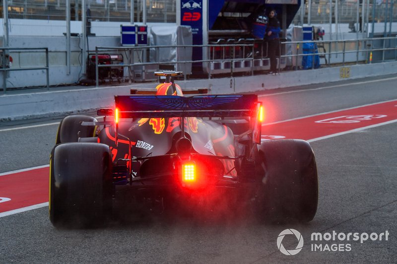 Rear lights on the Max Verstappen Red Bull Racing RB15