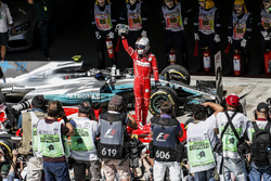Race winner Sebastian Vettel, Ferrari SF70H celebrates in parc ferme