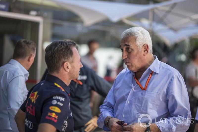 Christian Horner, director de Red Bull Racing Team Principal y Lawrence Stroll
